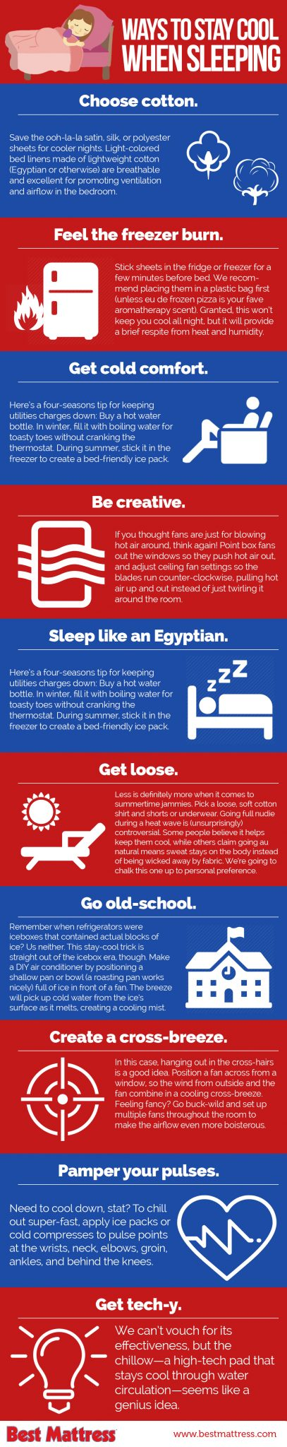 Staying Cool Sleeping at night Infographic from Best Mattress in Las Vegas, Mesquite, and St. George Utah