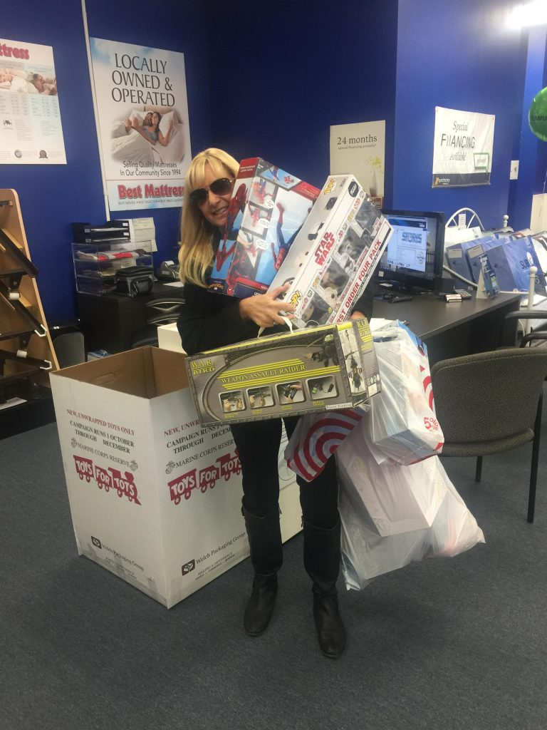 Toys for Tots donation at Best Mattress Blue Diamond Locaiton