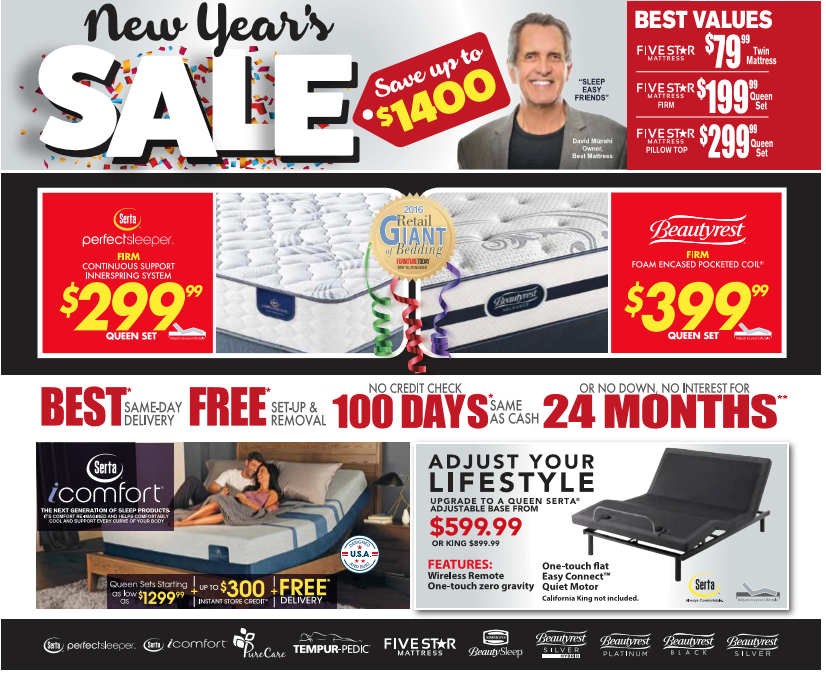 Best Mattress' 2018 New Year's Sale in Las Vegas, Mesquite, St. George
