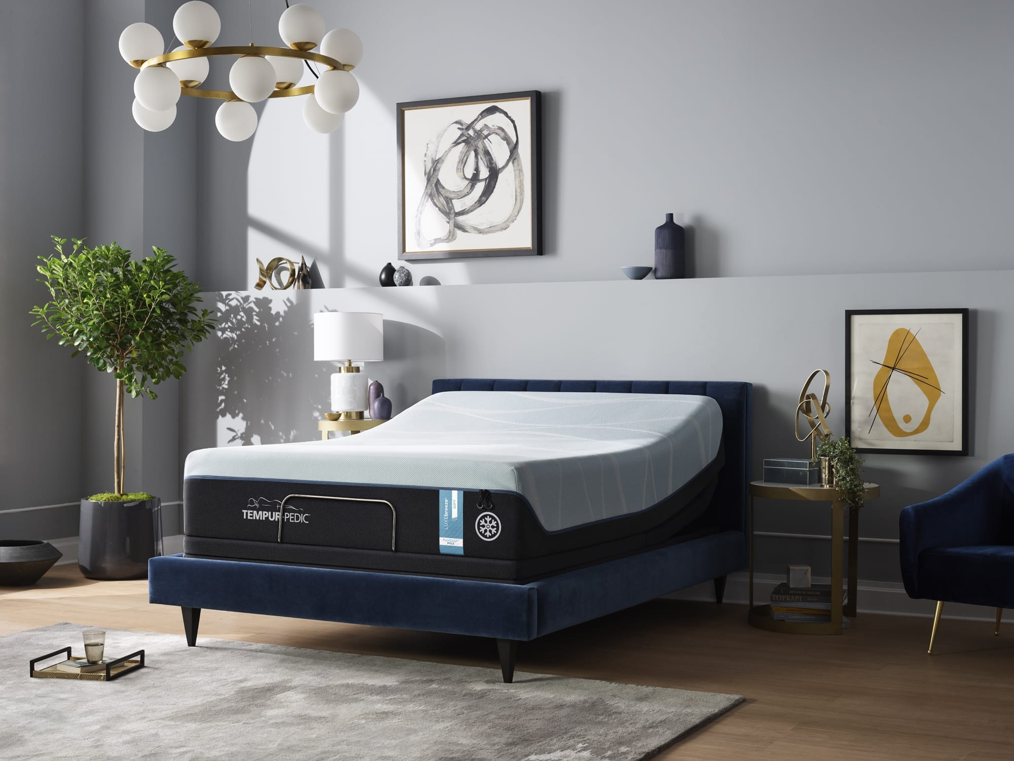 Tempur-LUXEBreeze Soft Queen mattress in a bedroom
