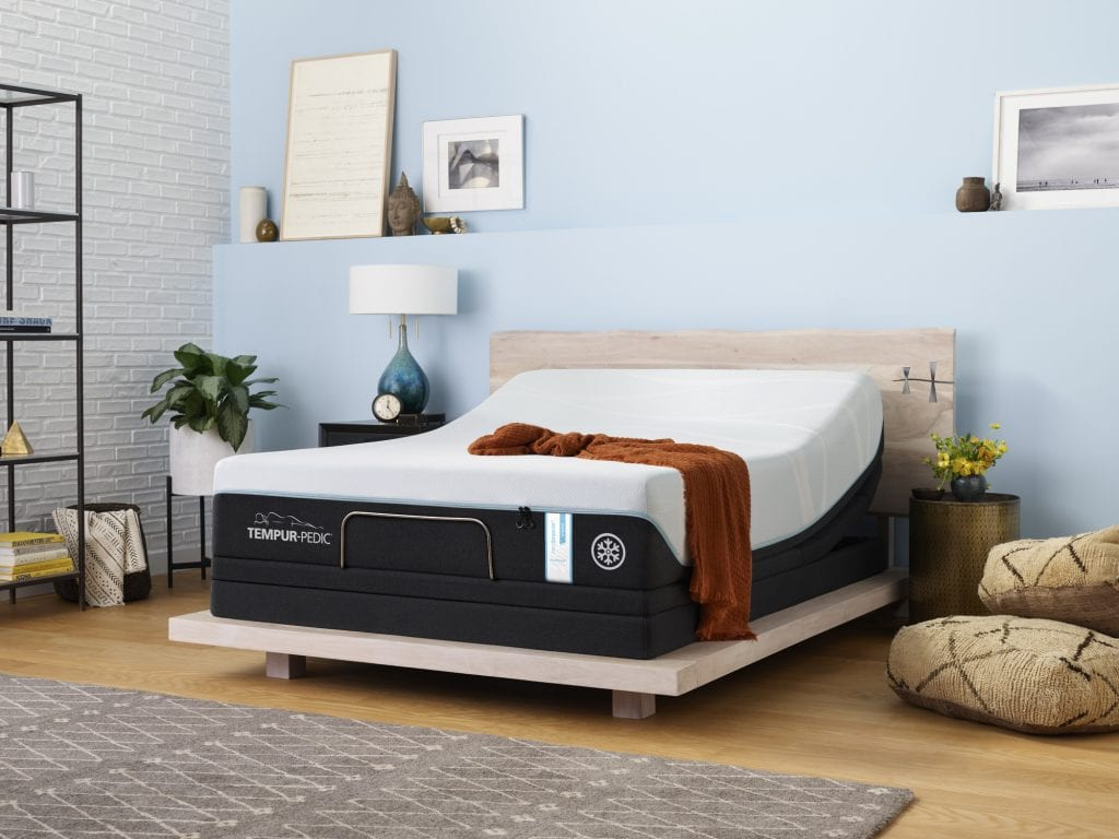 Tempur-ProBreeze Medium Hybrid mattress in a bedroom