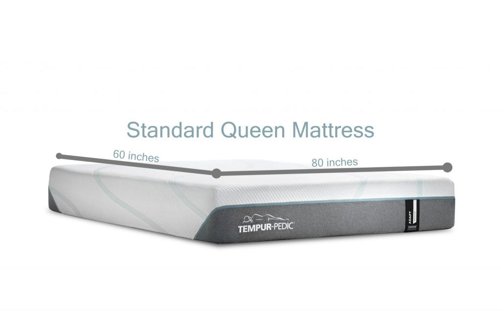 Standard Queen mattress size 60 inches by 80 inches